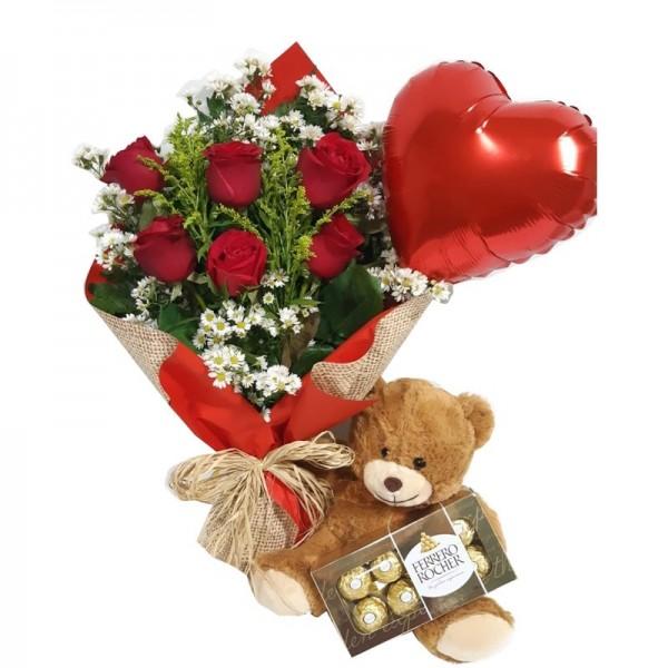 buquê 6 rosas balão coração urso e chocolate ferreiro com 8 unidades