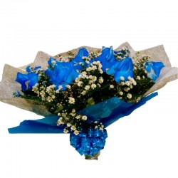 Buquê de 12 Rosas Azuis